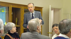 Dr. Walter Strachan giving a presentation at the luncheon with Mt. Nebo Lutheran Church Members